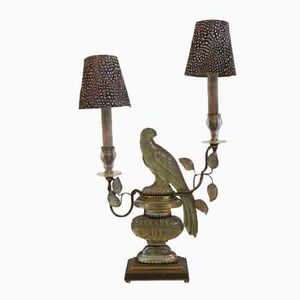 French Crystal and Lacquered Brass Parrot Lamp from Maison Bagues, 1940s