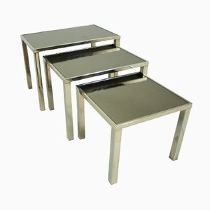 Tavolini a incastro placcati in oro a 23 carati di Belgochrom, Belgio, anni '70, set di 3