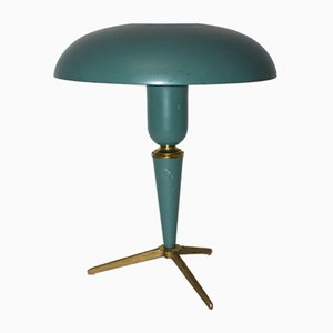 Green Aluminum and Brass Table Lamp by Louis Kalff
