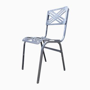 French Aluminum Outdoor Chair by Slavik for Galerie Alumine, 1980s