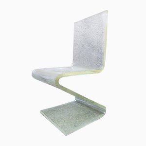 Französischer Plexiglas Stuhl in Z Form, 1970er