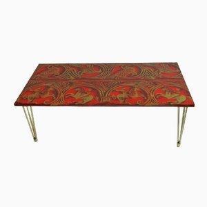 Mesa de centro italiana de lino lacado en rojo y dorado, años 50