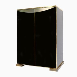 Black Glass & Brass Bar Cabinet from Maison Jansen, 1970