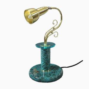 Lámpara de mesa de noche italiana en verde esmeralda de Aldo Tura, años 60