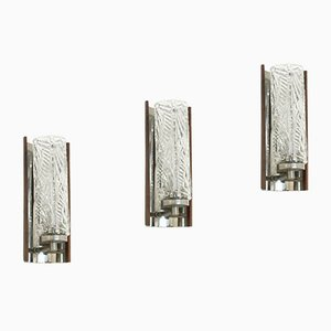 Scandinavian Rosewood & Chrome Wall Sconces, 1970s, Set of 3