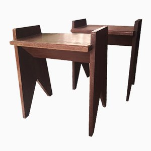 Wooden Night Stands, 1950s, Set of 2