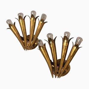 Italienische Messing Füllhorn Wandlampen, 1950er, 2er Set
