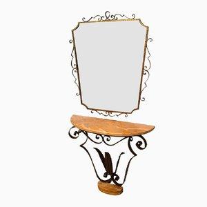 Consola italiana con espejo de Pier Luigi Colli, años 50