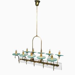 Große Italienische Deckenlampe aus Messing mit Zehn Leuchten, 1950er