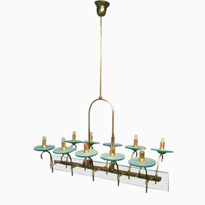 Large Italian Brass Ceiling Light with Ten Arms, 1950s