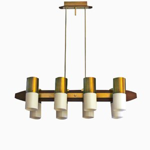 Italian Brass and Teak Chandelier, 1960s