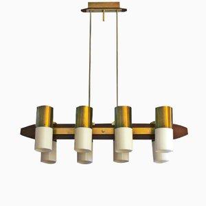 Lámpara de araña italiana de teca y latón, años 60