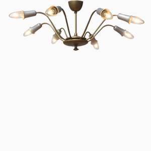 Sputnik Brass Pendant Lamp with Eight Arms, 1950s