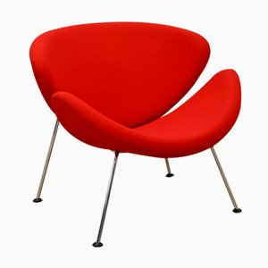 Red F437 Orange Slice Chair by Pierre Paulin for Artifort, 1980s