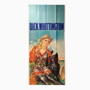 Póster de Dick Whittington inglés vintage muy grande de tres hojas de Taylors of Wombwell, años 30