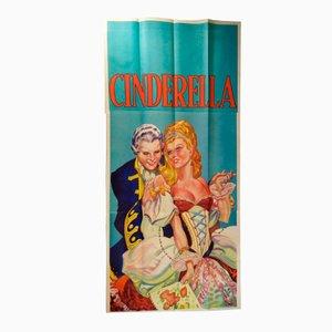 Póster de Cinderella inglés vintage muy grande de tres hojas de Taylors of Wombwell, años 30
