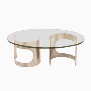 French Spherical Stainless Steel and Glass Top Coffee Table, 1970s