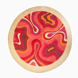 French Space Age Circular Wool Rug, 1970s