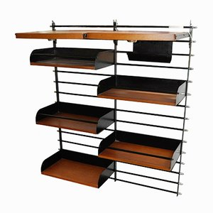 French Modular Black Metal Shelf, 1950s