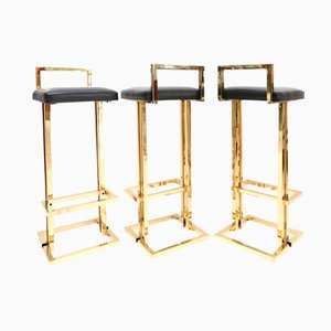 Belgian Brass Stools by Maison Jansen, 1980s, Set of 3