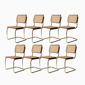 Italian Cesca B62 Gold Chairs by Marcel Breuer for Gavina, 1962, Set of 8