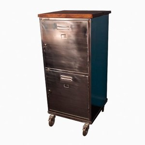 Large British Polished Steel Cabinet on Casters with Reclaimed Wooden Top, 1960s