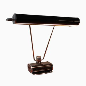 Black Chrome Art Deco French Desk Lamp by Eileen Gray for Jumo