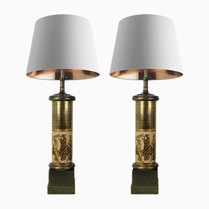 Large Italian Column Lamps by Pietro Fornasetti, Set of 2