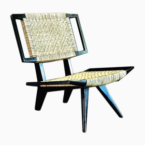 Wood and Wicker Lounge Chair by Paul László for Glenn of California