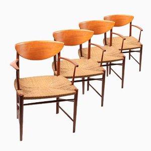 Dänische 317 Armlehnenstühle aus Teakholz von Peter Hvidt und Orla Mølgaard Nielsen, 1950er, 4er Set