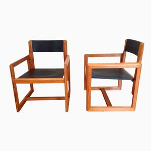Vintage Pine Armchairs by André Sornay