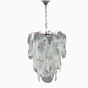 Lámpara de araña italiana de metal cromado y vidrio, 1970