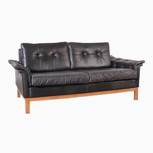 Kardinal Black Leather Sofa from IKEA, 1964