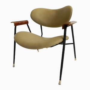 Italian Plywood and Skai Low Armchair, 1950s
