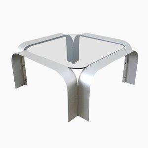 Mesa de centro cuadrada de aluminio con vidrio tintado, años 70