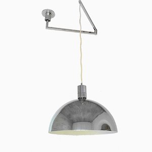 Italian Chromed Swing-Arm Ceiling Lamp by Franco Albini for Sirrah, 1969