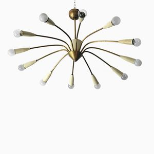 Large Brass Sputnik 12-Arm Chandelier, 1950s