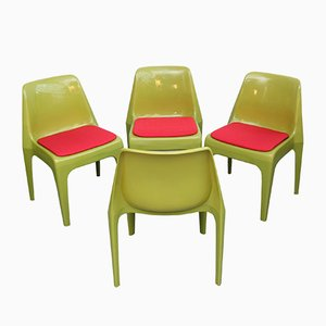 German Red and Green Plastic Chairs, 1970s, Set of 4