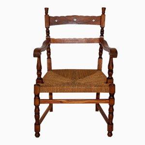Vintage Eschenholz Armlehnstuhl mit Cord Sitz