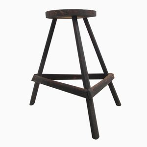 Belgian Industrial Three-Legged Timber Stool, 1940s