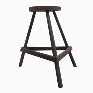 Taburete belga industrial de madera de 3 patas, años 40
