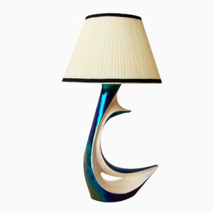 French Blue Iridescent Ceramic Table Lamp from Verceram, 1950s