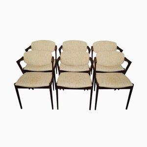 Sedie da pranzo modello 42 in palissandro di Kai Kristiansen, anni '60, set di 6