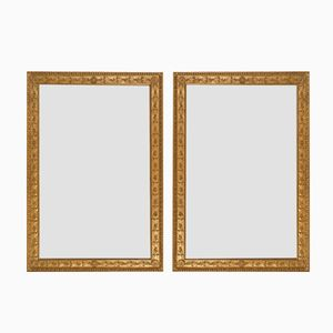 Antique French Gilt Mirrors with Oak Leaves and Rosettes, Set of 2