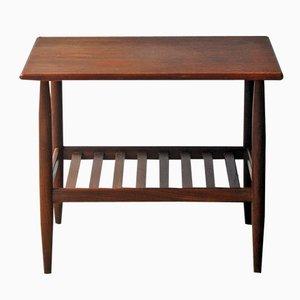 Mid-Century Danish Teak Side Table with Shelf