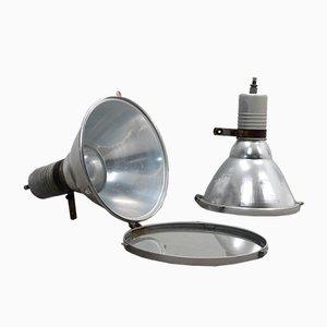 Lámpara italiana industrial vintage grande de aluminio y vidrio temperado