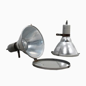 Large Vintage Italian Aluminum and Tempered Glass Industrial Lamp