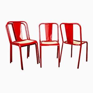 Französische Rote Vintage Metallstühle, 4er Set
