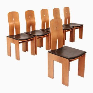 Mod. 1934 765 Chairs by Carlo Scarpa for Bernini, 1977, Set of 6
