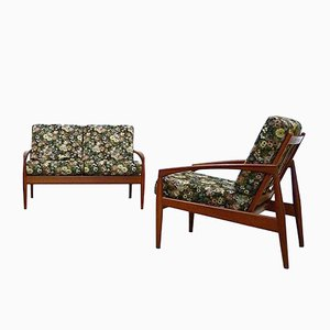 Sofá y poltrona de teca de Kai Kristiansen para Magnus Olesen, años 60